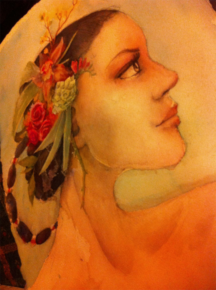 Earthly Pleasures – In Progress – Watercolor by Mandy Maxwell